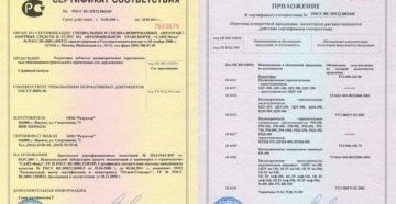 Сертификат соответствия Госстандарту России. приложение к сертификату соответствия